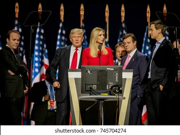 Cleveland Ohio, USA, 21th July , 2016 Donald Trump,Rick Gates,Ivanka Trump,Paul Manafort and Jared Kushner during the sound checks on stage in the Quicken Arena for the Republican National Convention