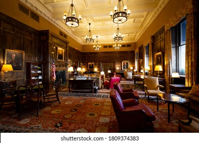 Cleveland, Ohio / USA - August 25 2020: Traditional business club / gentlemen club with old Victorian interior and typical USA vintage style