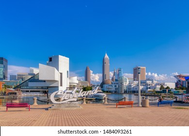 Cleveland, Ohio USA - August 7, 2019: Skyline of Cleveland, Ohio's Second Largest City, with the Key Bank, Rock and Roll Hall of Fame and Science Center Buildings