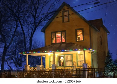 """CLEVELAND, OHIO USA - December 4, 2015:  The house from the movie, """"A Christmas Story"""", located in the Tremont Neighborhood of Cleveland, Ohio."""