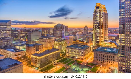Cleveland, Ohio, USA downtown cityscape at dawn.