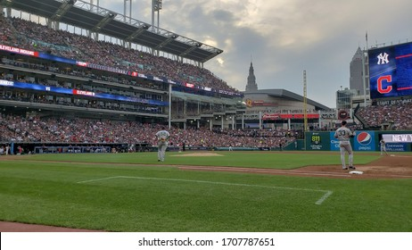 Cleveland, Ohio / USA - July 14, 2018: New York Yankees pitcher C.C. Sabathia walks onto the field for the start of a game against the Cleveland Indians at Progessive Field.
