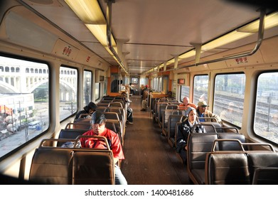 CLEVELAND, OHIO / USA - SEPTEMBER 18 2009: Interior view of elevated RTA subway train traveling between stations in Cleveland.