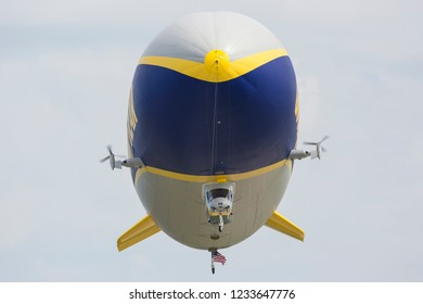 CLEVELAND, OHIO / USA - September 2, 2018: The Good Year Blimp performing a demo at the 2018 Cleveland International Airshow.