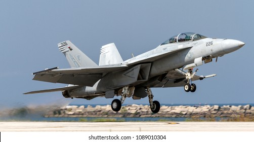 CLEVELAND, OHIO / USA - September 3, 2012: A United States Navy F/A-18 Super Hornet performs a demo at the 2012 Cleveland International Airshow.