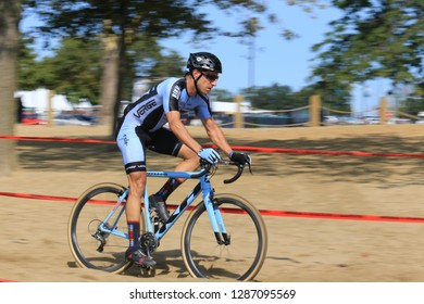 Cleveland, Ohio, USA - September 8, 2018: Cyclocross extreme cycling on the challenging race terrain. The yearly event is held at Edgewater Public Park and attracts competitors throughout the nation.