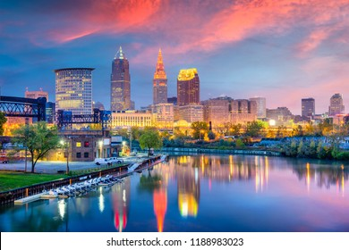 Cleveland, Ohio, USA skyline on the Cuyahoga River.