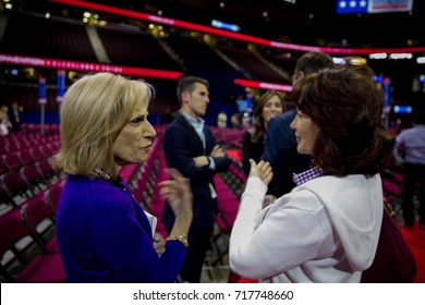 Cleveland Ohio, USA,17th July,2016 Andrea Mitchell NBC's Chief Foreign Affairs correspondent talks with Kathleen Manafort in the Quicken Arena the day before the Republican National Convention begins