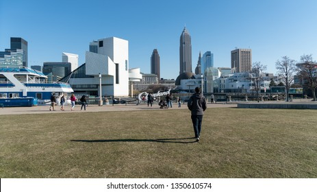 Cleveland, Ohio/USA - January 1, 2018: A popular local park in a city small market area of North East Ohio with Skyline in background and Rock N Roll Hall of Fame off to the left. Plenty of text space