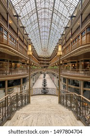 CLEVELAND, OHIO/USA - JULY 10, 2019: Empty interior of the historic Cleveland Arcade on Superior Avenue in downtown Cleveland