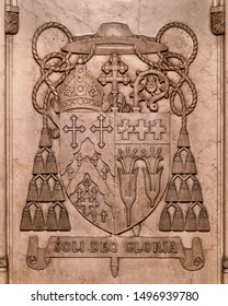 CLEVELAND, OHIO/USA - July 11, 2019: Detailed etching inside of the Cathedral of St. John the Evangelist on Superior Avenue in Cleveland