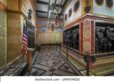 CLEVELAND, OHIO/USA - JULY 11, 2019: Interior of the historic Soldiers' and Sailors' Monument on Public Square in Cleveland, Ohio