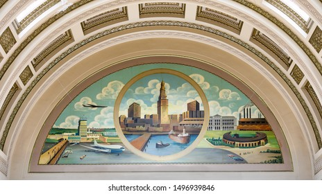 CLEVELAND, OHIO/USA - July 11, 2019: City mural in the lobby of historic City Hall on Lakeside Avenue in Cleveland