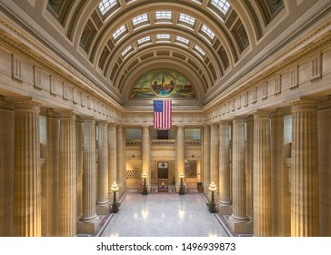 CLEVELAND, OHIO/USA - July 11, 2019: Empty lobby of historic City Hall on Lakeside Avenue in Cleveland