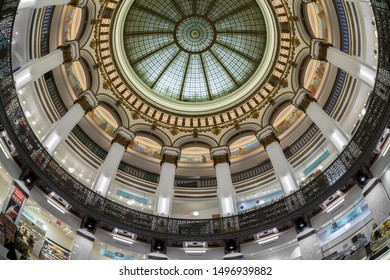 CLEVELAND, OHIO/USA - July 11, 2019: Dome ceiling from the floor of Heinen's Grocery Store on Euclid Avenue in downtown Cleveland