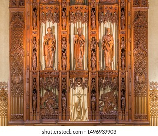 CLEVELAND, OHIO/USA - July 11, 2019: Detailed woodwork over the alter inside of the Cathedral of St. John the Evangelist on Superior Avenue in Cleveland