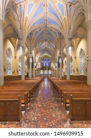 CLEVELAND, OHIO/USA - July 11, 2019: Interior and nave of the Cathedral of St. John the Evangelist on Superior Avenue in Cleveland