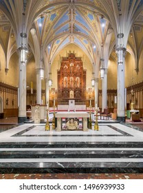 CLEVELAND, OHIO/USA - July 11, 2019: Altar and sanctuary of the Cathedral of St. John the Evangelist on Superior Avenue in Cleveland