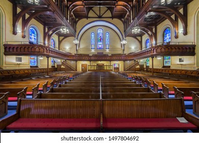 CLEVELAND, OHIO/USA - JULY 11, 2019: Interior and nave of the Old Stone Church (First Presbyterian) on Public Square in downtown Cleveland