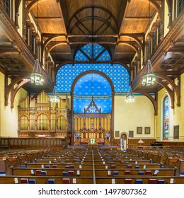 CLEVELAND, OHIO/USA - JULY 11, 2019: Interior and nave of the historic Old Stone Church (First Presbyterian) on Public Square in downtown Cleveland