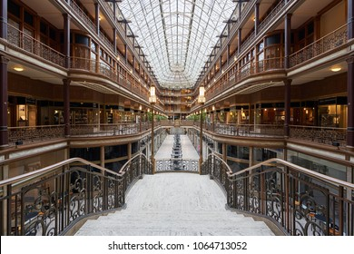Cleveland, Ohio/USA - March 5th 2018: Given National Historic Landmark status in 1975, the Arcade in downtown Cleveland is a Victorian architectural masterpiece. It joins two nine-story buildings.