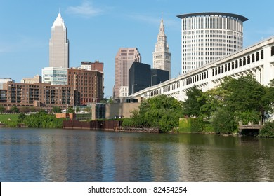 Cleveland From The River Commercial and residential buildings in the downtown area of Cleveland, Ohio as seen from the bank of the Cuyahoga River