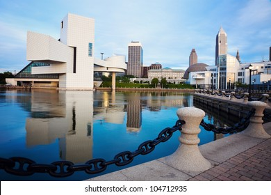 Cleveland seen morning time from the lakefront