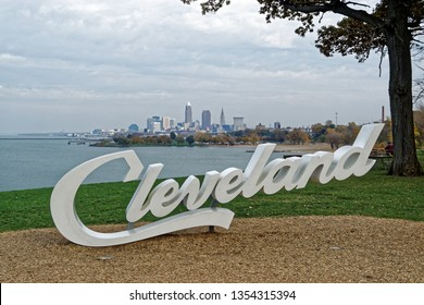 Cleveland Sign in Edgewater Park overlooks Lake Erie and the Cleveland City skyline