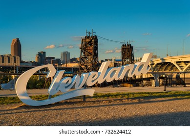 A Cleveland sign, one of three in the city, overlooking downtown from the near west side
