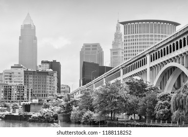 Cleveland skyline. Black and white retro style.
