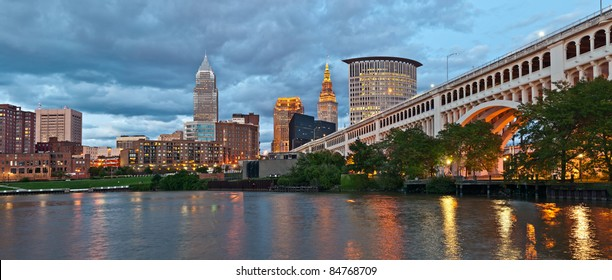 Cleveland skyline at twilight.