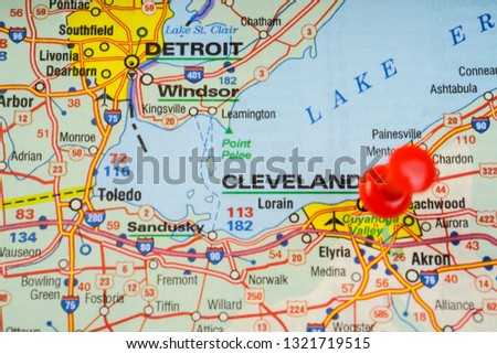 Cleveland USA Map Background Stock Photo (Edit Now) 1321719515 ... on