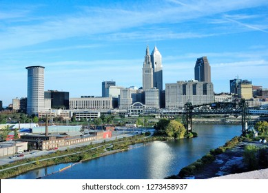Cleveland, USA - October 21, 2018 - View over Cleveland, Ohio seen from the Hope Memorial Bridge