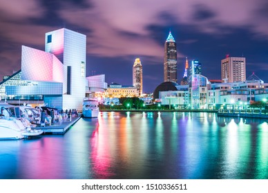 Cleveland,ohio,usa.  08-18-17 : Cleveland skyline in lakefront  area at night.