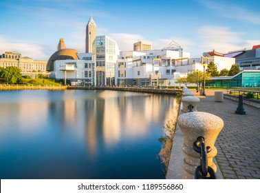 Cleveland,ohio,usa.  08-18-17 : Great Lakes Science Center in the evening.