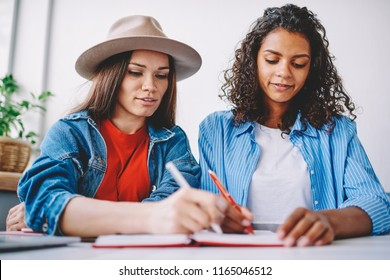 Clever hipster girls doing school homework together writing answers in textbook for education, young multicultural female persons notes organisation plan of course work sitting in cafeteria