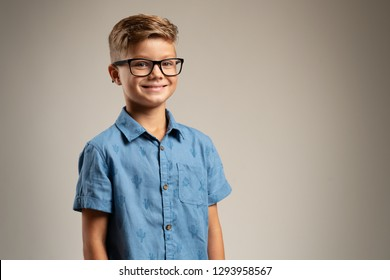 Clever kid with glasses