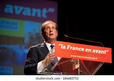 CLICHY-LA-GARENNE, FRANCE - APRIL 28, 2011 : Francois Hollande meeting for the Socialist primary