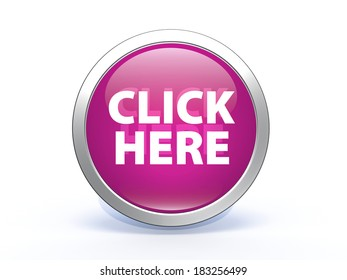 Click here circular icon on white background