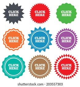 Click here sign icon. Press button. Stars stickers. Certificate emblem labels.