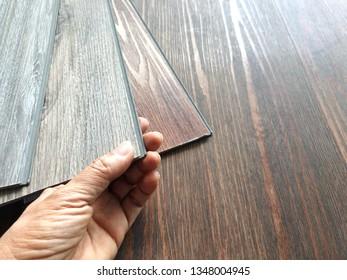 Click lock type of vinyl floor tiles for DIY concept