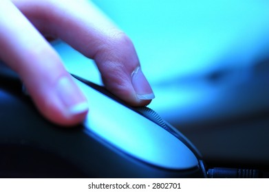 CLICK THE MOUSE! Conceptual image of working with computer