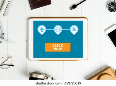 Click now button on Travel tablet application