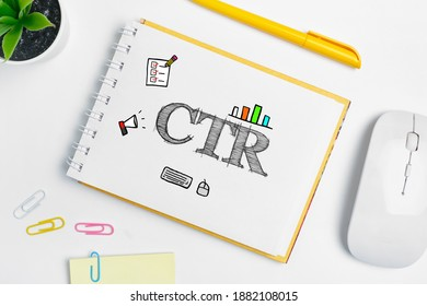 Click through rate CTR inscription in notebook.