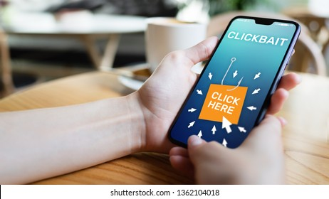 Clickbait, advertising, spam icons on mobile phone screen. Internet and business concept.