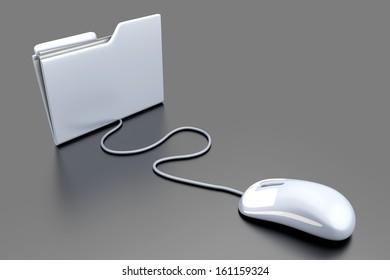 Clicking on a Folder. 3D illustration.
