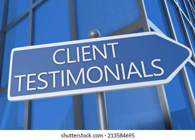 Client Testimonials - illustration with street sign in front of office building.