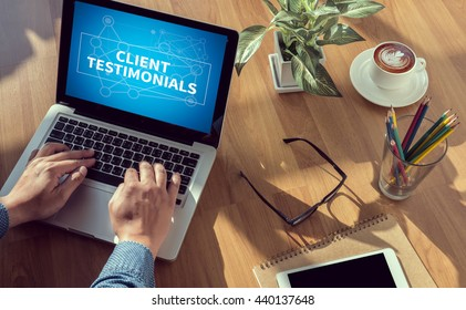 CLIENT TESTIMONIALS man hand on table Business, coffee, Split tone
