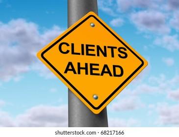 clients customers sales profits ahead coming street sign symbol