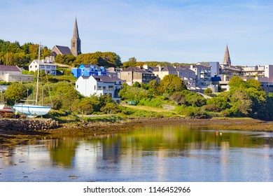 Clifden Cityview with buildings, bay and vegetation, Ireland